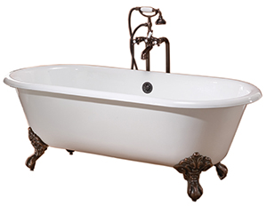 Cheviot 2111-BB-BN REGAL Cast Iron Bathtub, Biscuit Interior, Biscuit Exterior, Brushed Nickel Feet Tub
