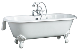 Cheviot 2171-WW-PB REGAL Cast Iron Bathtub with Shaughnessy Feet, White Interior, White Exterior, Polished Brass Feet Tub